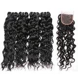 ishow brazilian water wave hairstyles 4 bundles with lace hair closure