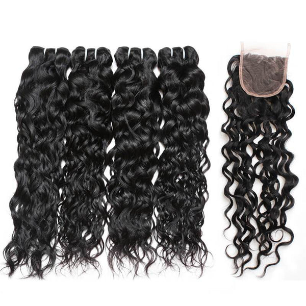 ishow hairindian water wave hair 4 bundles with lace closure
