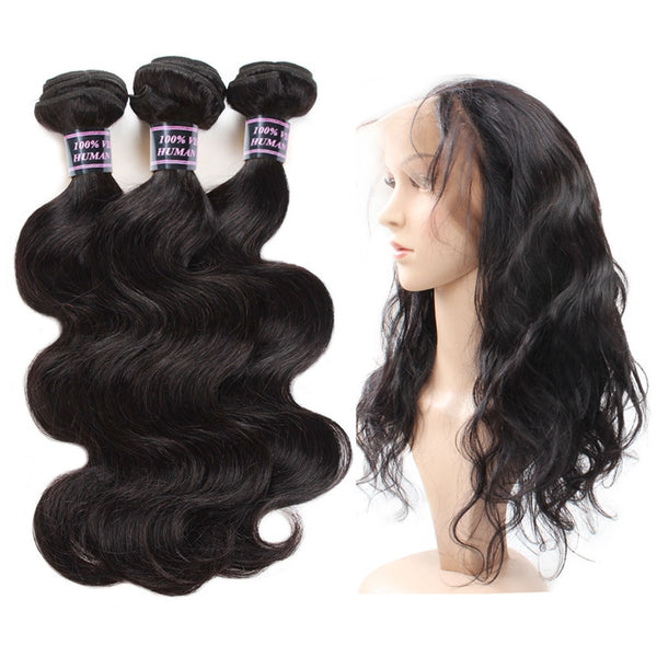 Malaysian Body Wave Human Hair 3 Bundles With 360 Lace Frontal Closure - Easy Hair