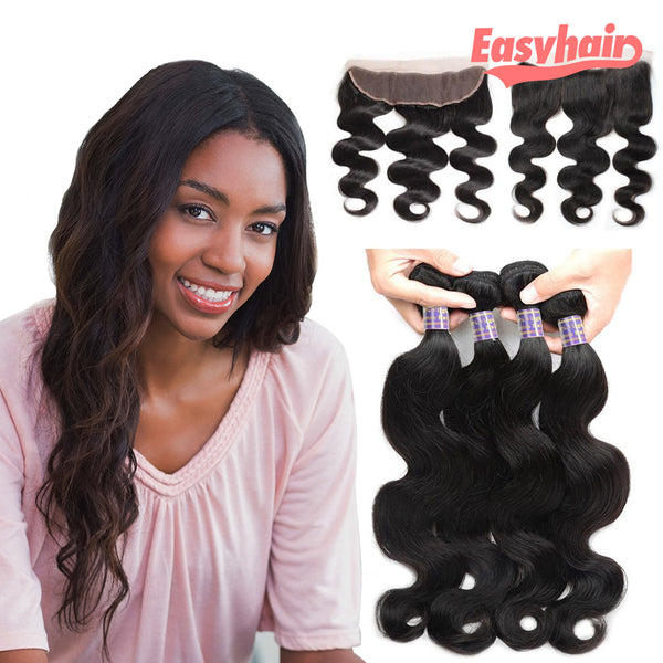 Easy Hair 10A Body Wave Indian Virgin Hair 4 Bundles With 13x4 Lace Frontal - Easy Hair