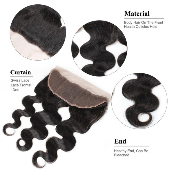 Ishow Hair Indian Lace Frontal Body Wave Closure 13*4 Ear To Ear Lace Closure - Easy Hair