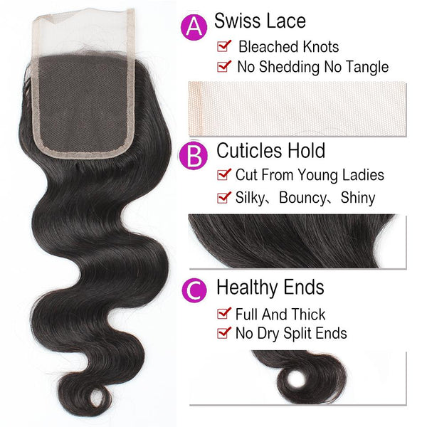 Allove Hair Unprocessed Indian Body Wave Human Hair 3 Bundles with Lace Closure