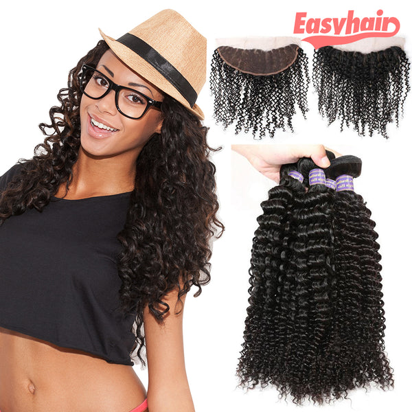 Easy Hair 10A Brazilian Kinky Curly Virgin Human Hair 4 Bundles with 13x4 Lace Frontal Closure - Easy Hair