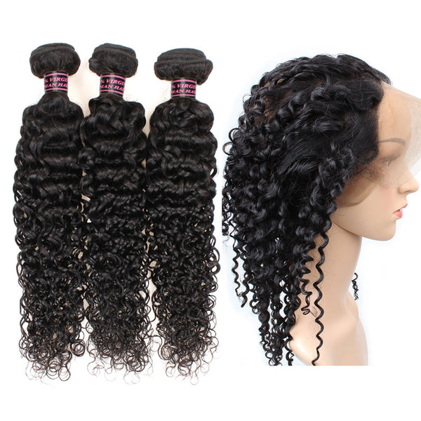 Malaysian Kinky Curly Hair 3 Bundles with 360 Lace Frontal Closure - Easy Hair