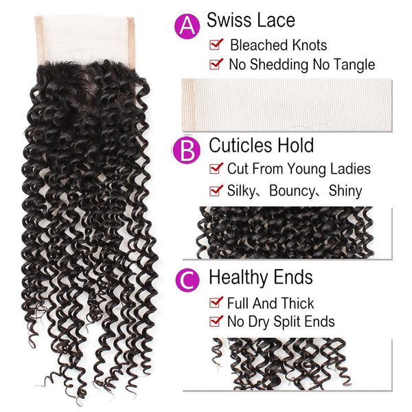 Easy Hair 10A Malaysian Kinky Curly Virgin Human Hair Extensions 4 Bundles With Lace Closure - Easy Hair