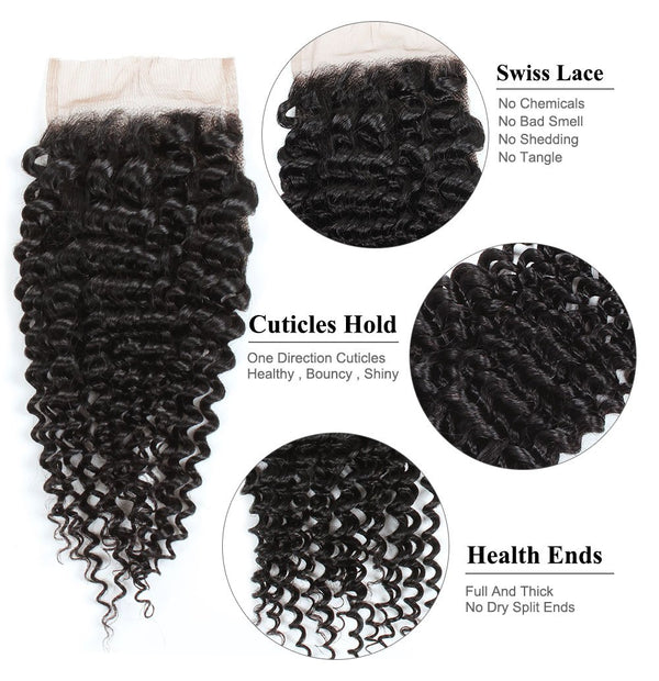 Easy Hair Indian Human Hair Curly Lace Closure 4*4 Swiss Lace Closure Human Hair - Easy Hair