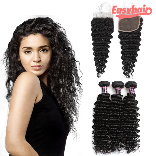 Easy Hair Peruvian Virgin Hair Deep Wave 3 Bundles With Free Part Lace Closure - Easy Hair