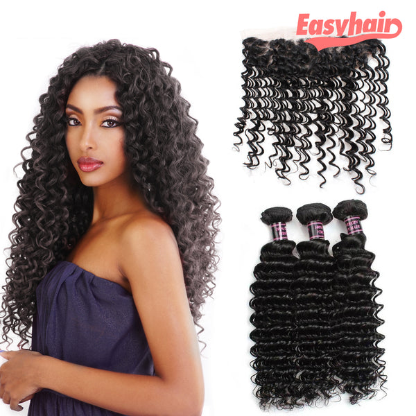 Easy Hair 10A Peruvian Deep Wave Virgin Hair 3 Bundles With 13x4 Lace Frontal - Easy Hair