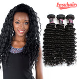 Ishow Peruvian Deep Wave Curly Hair 3 Bundles Extensions