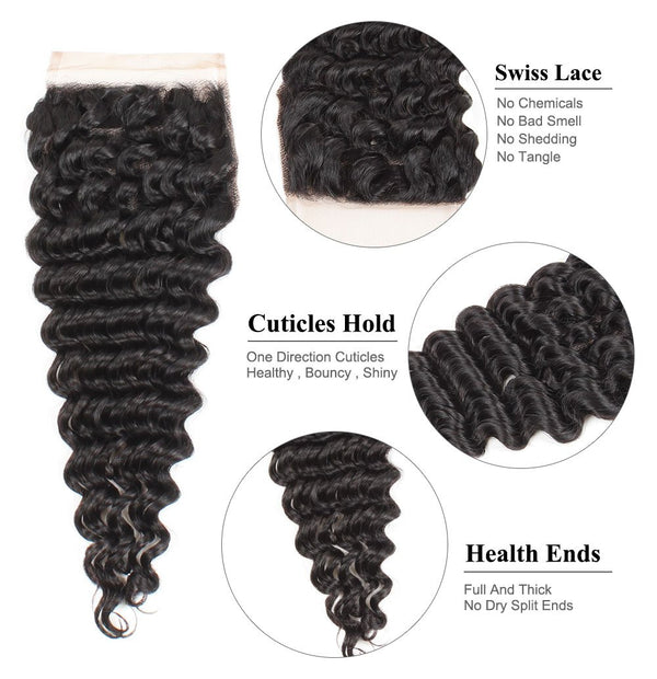 Easy Hair Brazilian Deep Wave Lace Closure 4x4 Human Hair Lace Closure - Easy Hair