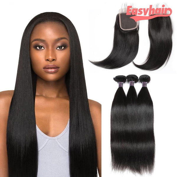 Peruvian straight human hair weft 3 bundles 30inches with 20 inches lace closure - Easy Hair