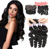 Easy Hair 10A Loose Wave Brazilian Virgin Hair 4 Bundles With 13x4 Lace Frontal Closure