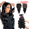 Easy Hair Peruvian Virgin Hair Loose Wave 3 Bundles With Lace Closure