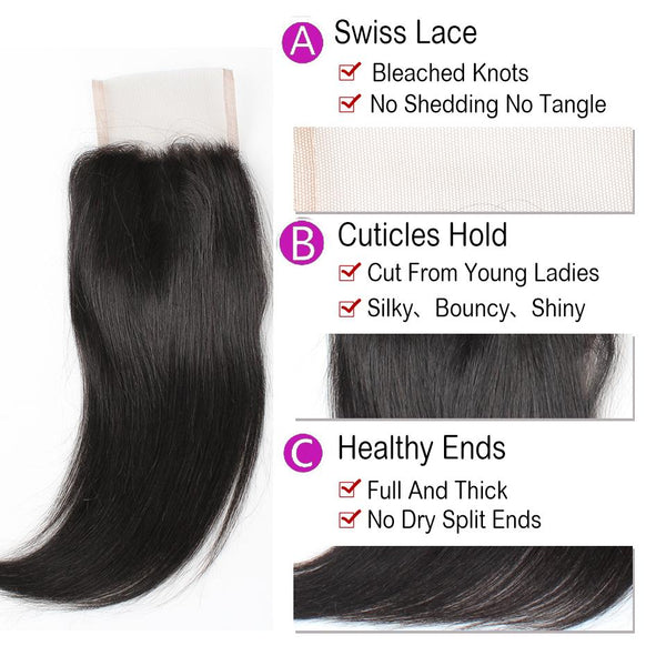 Allove Malaysian Virgin Hair Straight 4 Bundles With Lace Closure - Easy Hair