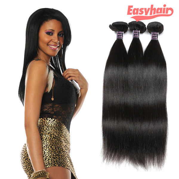 Easy Hair Peruvian Straight Virgin Hair Unprocessed Human Hair Weave 3pcs/lot - Easy Hair