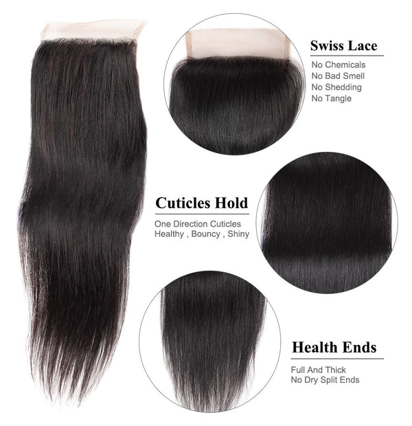 Easy Hair Peruvian Straight Lace Closure 4x4 Swiss Lace Closure Straight Human Hair - Easy Hair