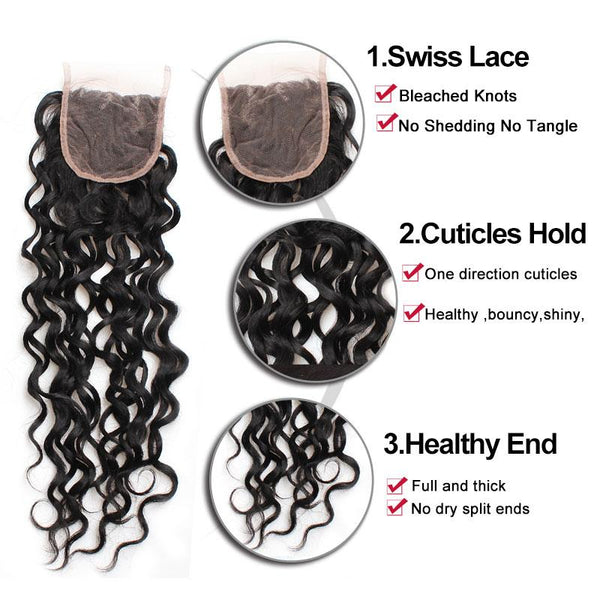 Easy Hair 10A Virign Indian Water Wave Hair 4 Bundles With Lace Closure Natural Black - Easy Hair