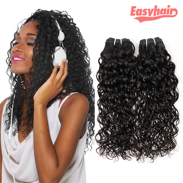 Easy Hair Malaysian Virgin Human Hair Water Wave 3 bundles Natural Color - Easy Hair