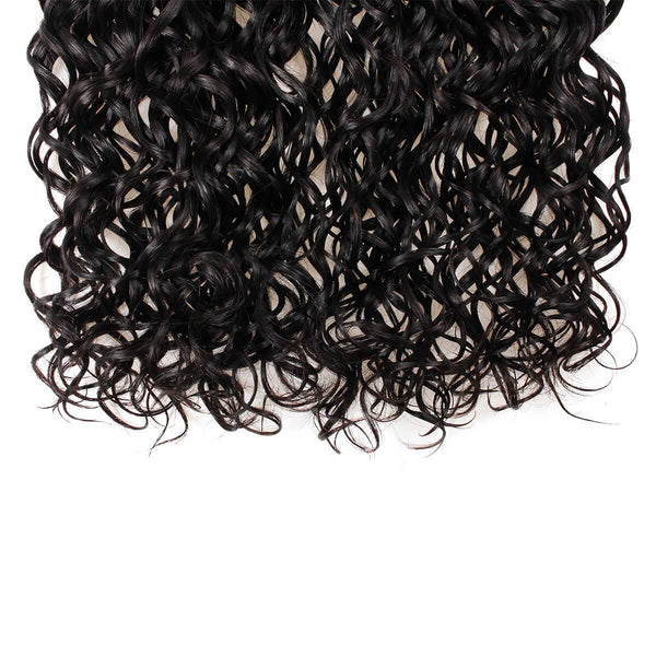 Allove Peruvian Virgin Hair Water Wave 4 Bundles With Lace Closure Natural Color - Easy Hair
