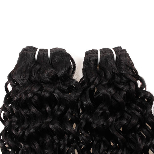 Allove Malaysian Virgin Hair Water Wave 4 Bundles With Lace Closure - Easy Hair