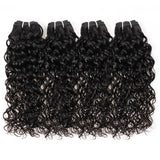 Allove Brazilian Virgin Hair Water Wave 4 Bundles With Lace Closure