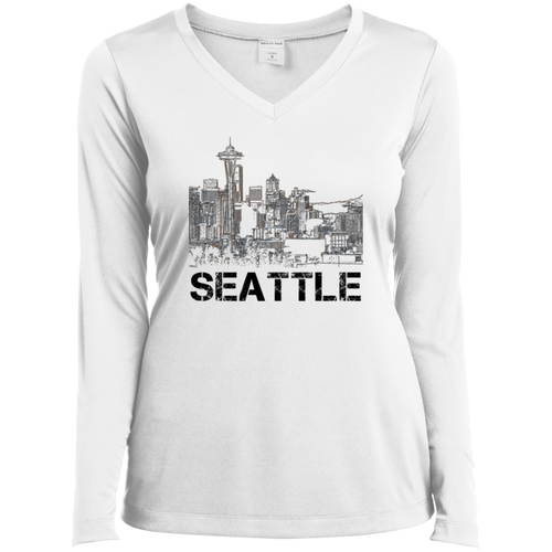 Space Needle LS Performance V-Neck T-Shirt