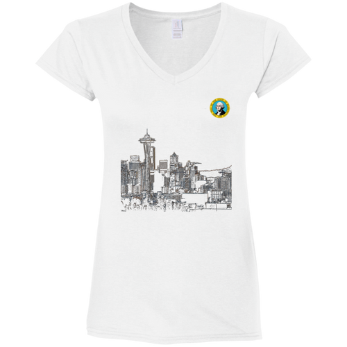 Space Needle Fitted Softstyle 4.5 oz V-Neck T-Shirt