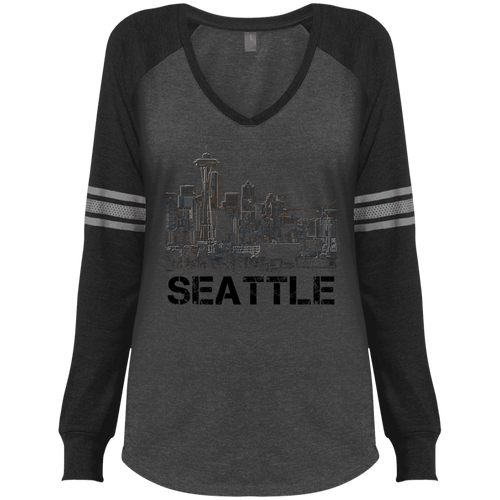 Space Needle Game LS V-Neck T-Shirt