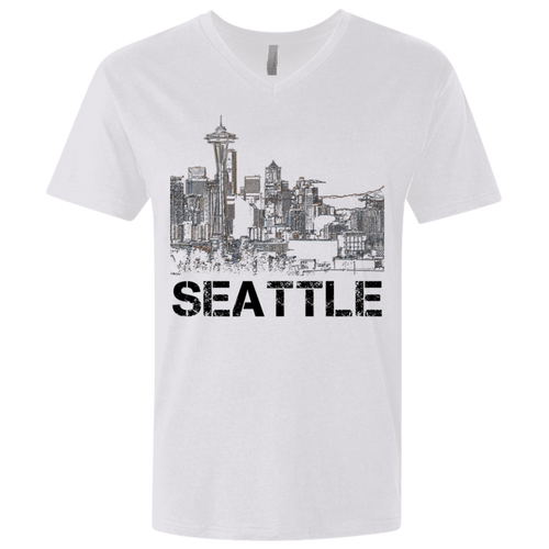 Space Needle Premium Fitted SS V-Neck