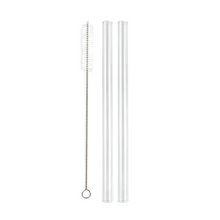 Load image into Gallery viewer, Combo Pack - 2 Glass Smoothie Straws (12 mm Diameter) with Cleaning Brush