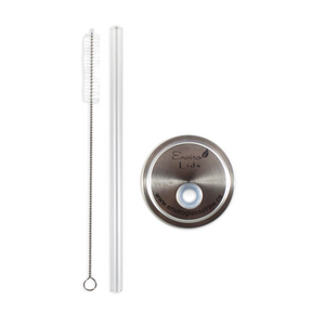 Glass Straw Enviro Lid Bundle with Cleaning Brush