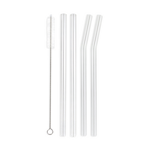 Family Pack - 4 Smoothie Glass Straws with a Cleaning Brush (12 mm Diameter)