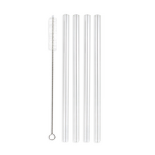 Load image into Gallery viewer, Family Pack - 4 Regular Glass Straws with a Cleaning Brush (9.5 mm Diameter)