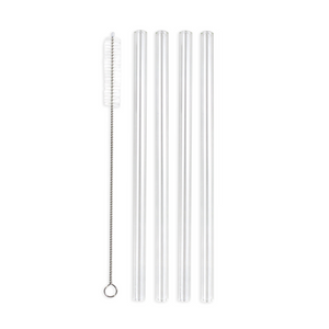 Family Pack - 4 Regular Glass Straws (9.5 mm Diameter) with Cleaning Brush
