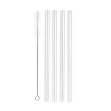Load image into Gallery viewer, Family Pack - 4 Glass Smoothie Straws (12 mm Diameter) with Cleaning Brush