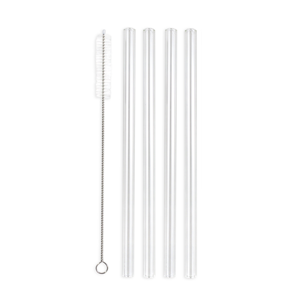Family Pack - 4 Glass Smoothie Straws (12 mm Diameter) with Cleaning Brush