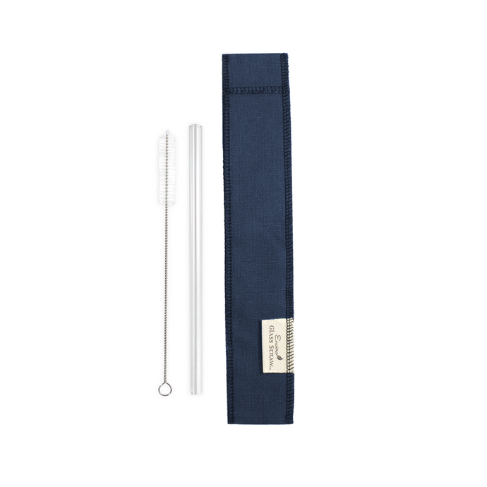 Blue Cloth Carrier Bundle with Glass Straw and Cleaning Brush