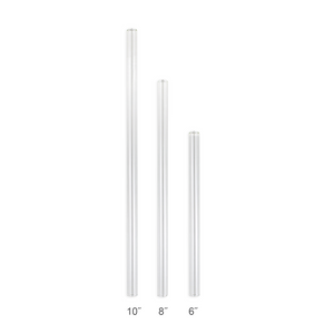 Combo Pack - 2 Regular Glass Straws (9.5 mm Diameter) with Cleaning Brush