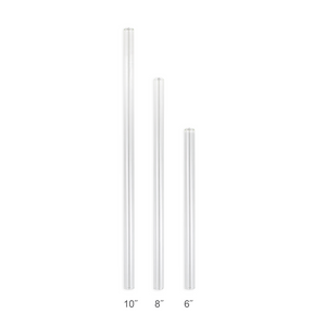 Family Pack - 4 Regular Glass Straws with a Cleaning Brush (9.5 mm Diameter)