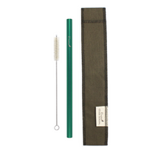 Load image into Gallery viewer, Earth Green Steel Straw Cloth Carrier Bundle with Cleaning Brush