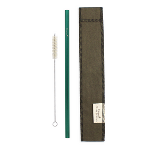 Earth Green Steel Straw Cloth Carrier Bundle with Cleaning Brush