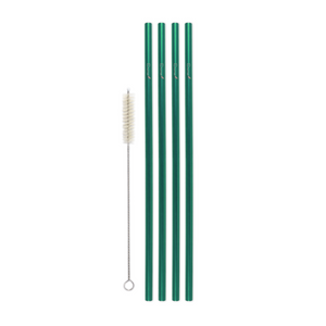 Family Pack - 4 Steel Skinny Straws (8 mm Diameter) with Cleaning Brush