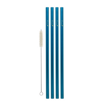 Load image into Gallery viewer, Family Pack - 4 Steel Smoothie Straws (9.5 mm Diameter) with Cleaning Brush