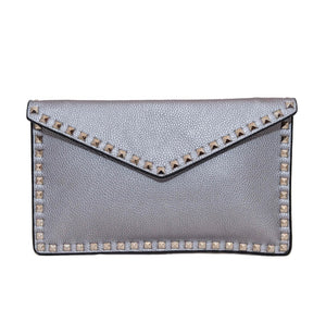 Studded Vegan Leather Envelope Clutch