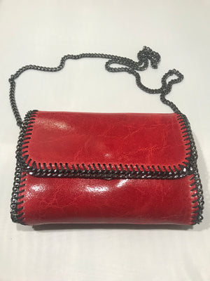Leather and Chain Clutch/Bag