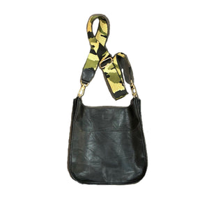 Black Vegan Leather Messenger Bag With Camo Strap