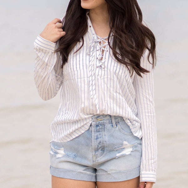 Laceup Striped Blouse