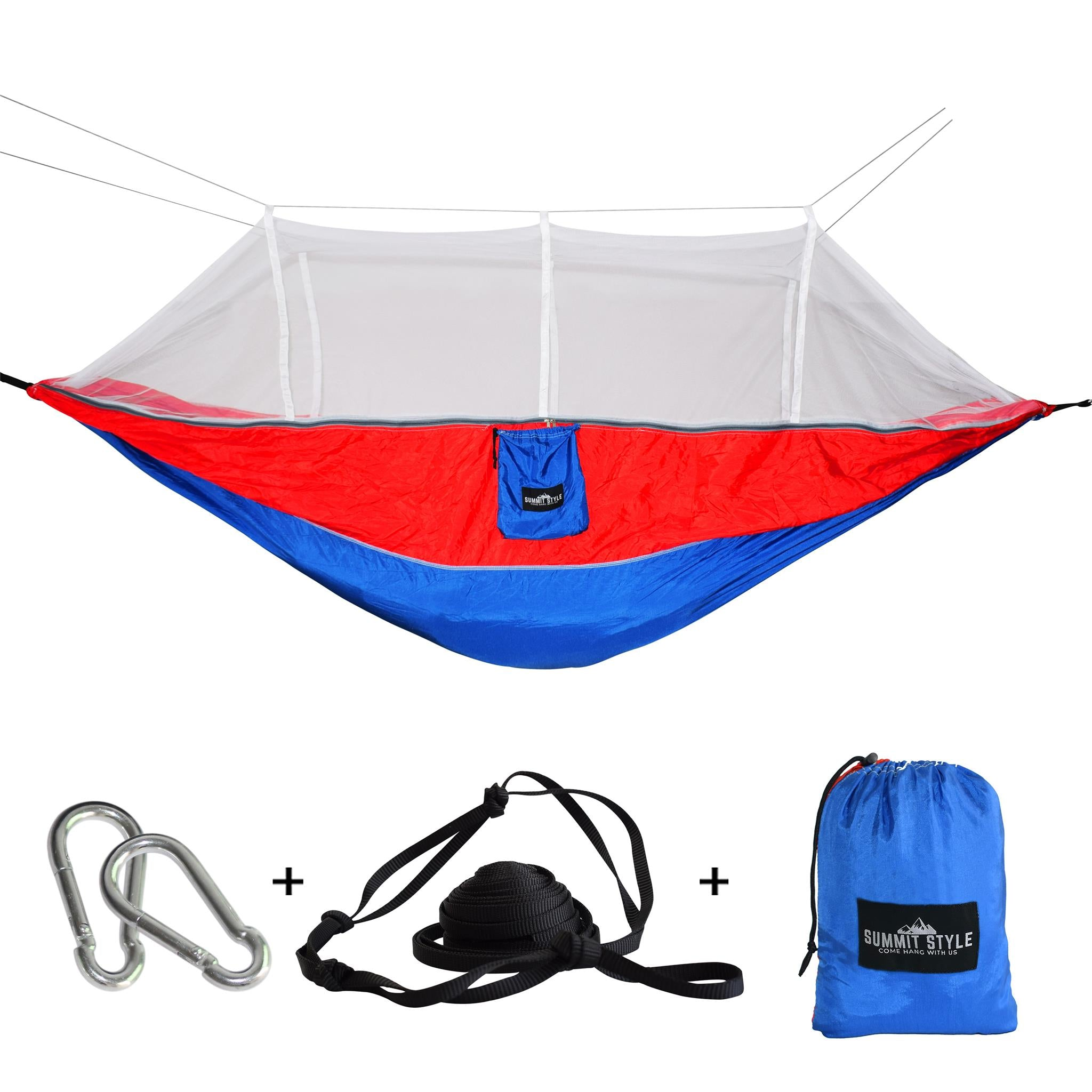 Summit Style's Nature Nest Hammock with Mosquito Net: Red & Blue