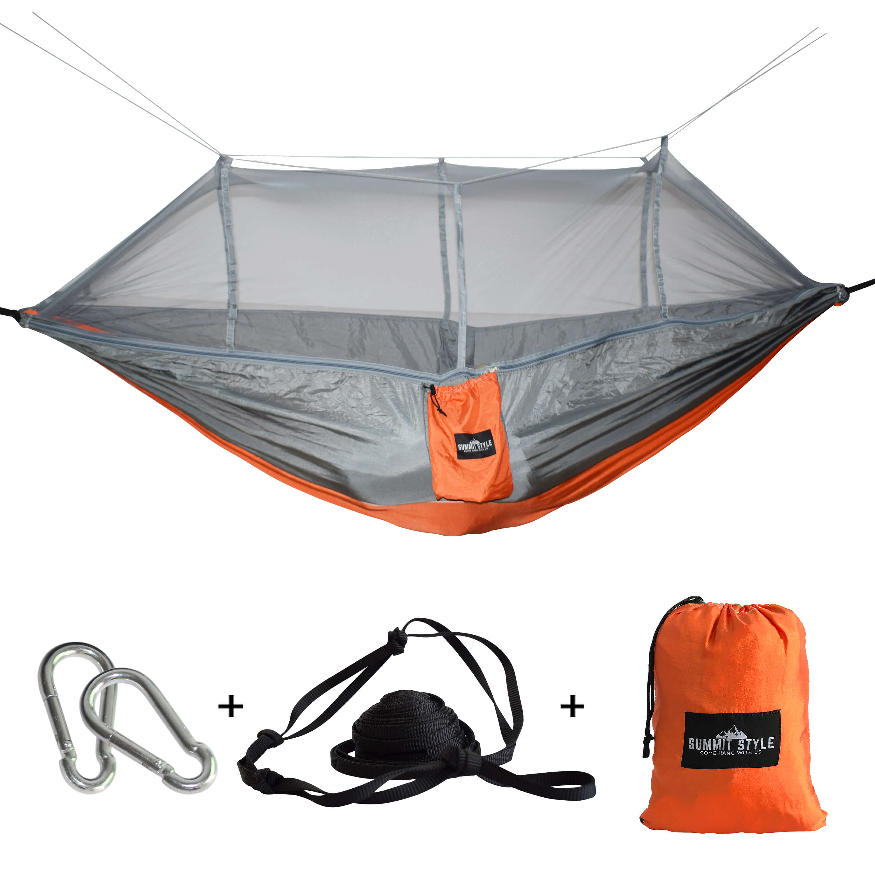 Summit Style's Nature Nest Hammock with Mosquito Net: Grey and Orange