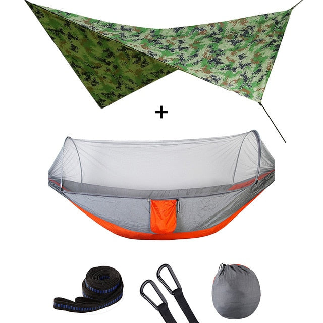 Summit Style 3 in 1 Nature Mosquito Net Hammock with Canopy: Camouflage and Orange
